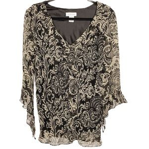 AVENUE black and beige silk chiffon blouse | 14/16